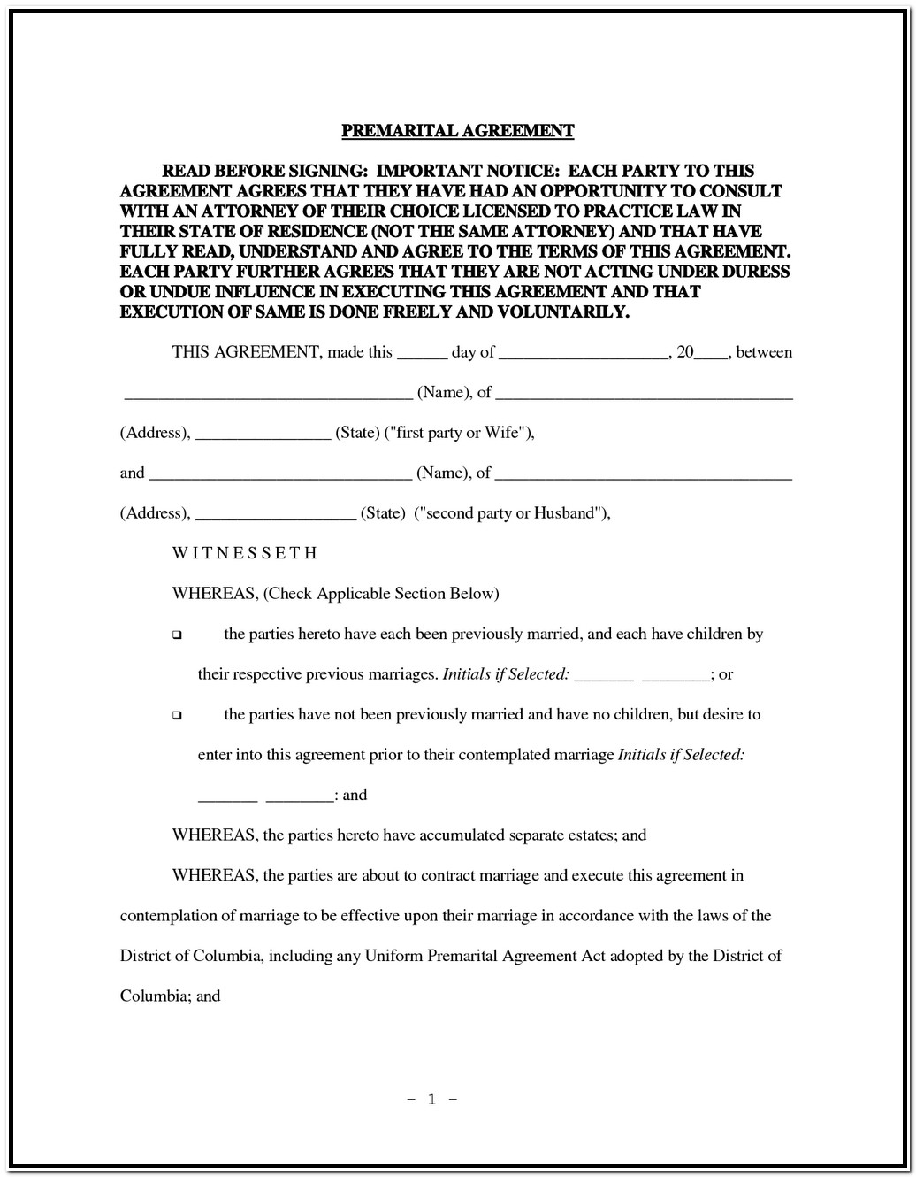 Prenuptial Agreement Form California