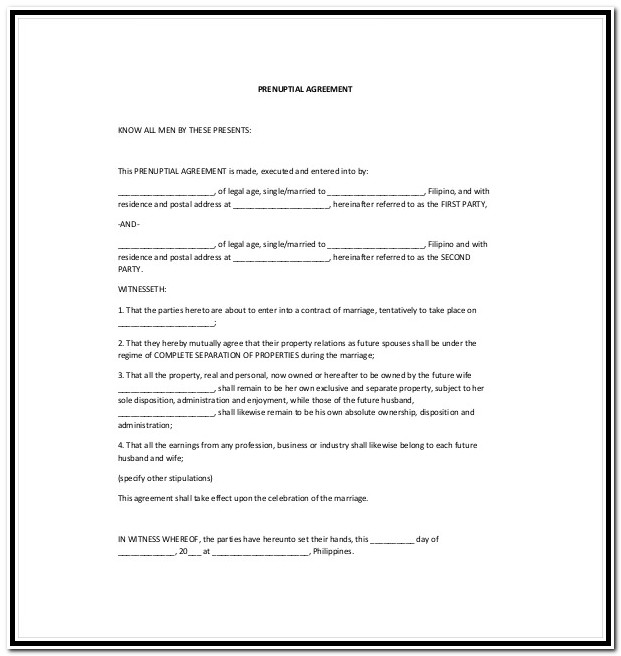 Prenuptial Agreement Form Florida Free
