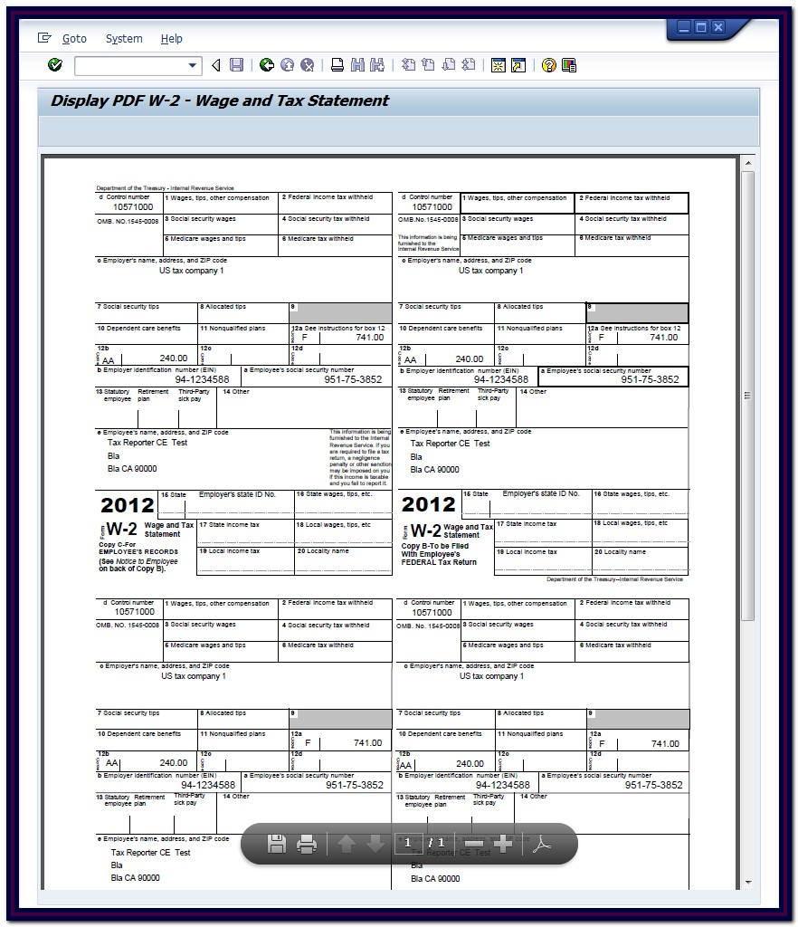 Printable W2 Form For Employees Free