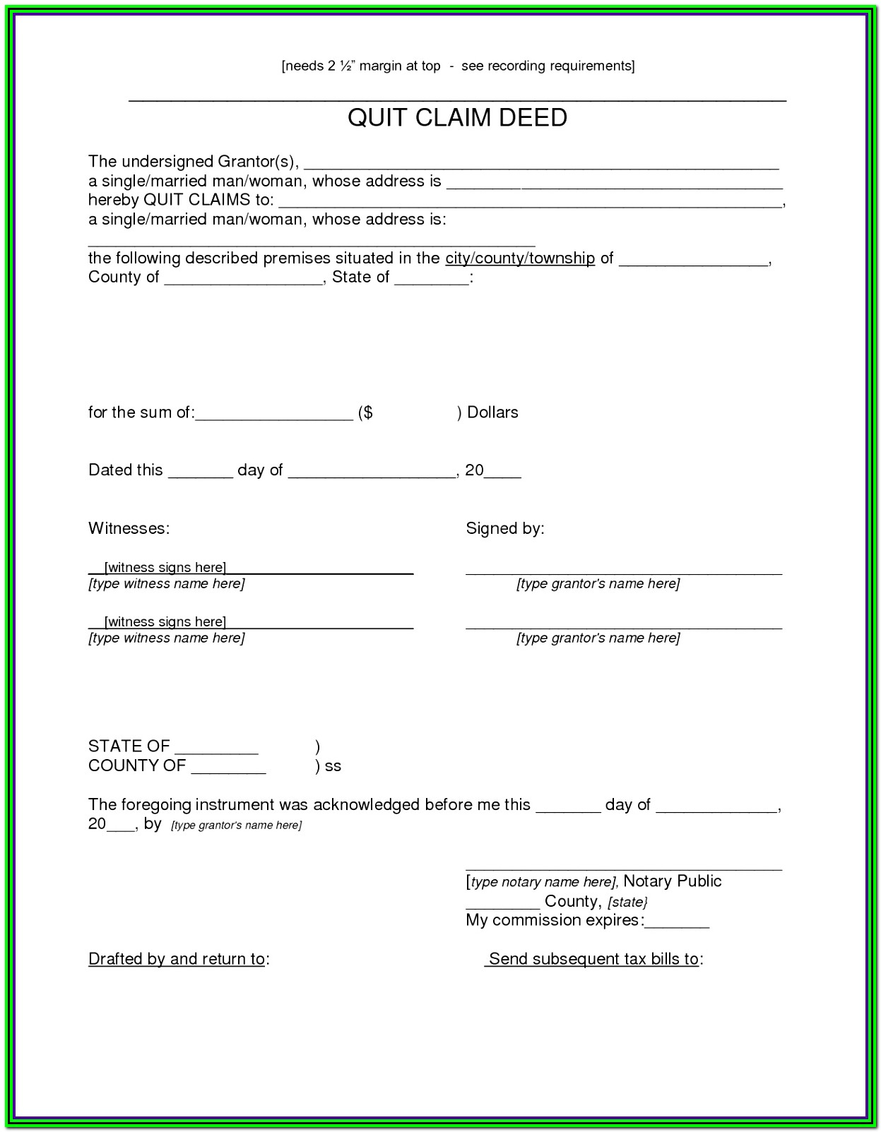 Quitclaim Deed Form Indiana