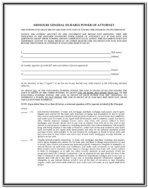 Statutory Power Of Attorney Form Missouri