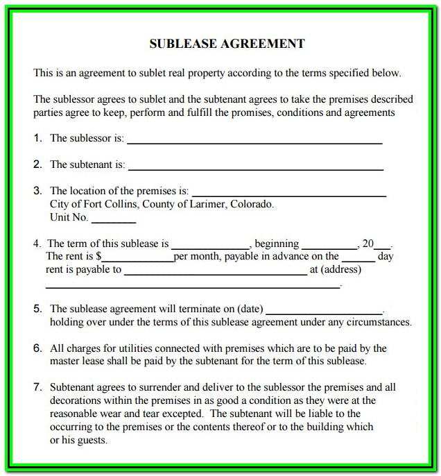 Sublease Agreement Form Free