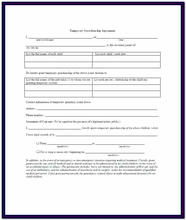 Temporary Guardianship Form Colorado
