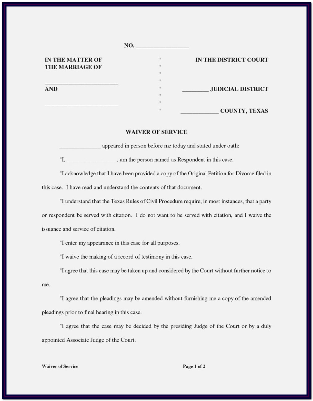 Texas Divorce Forms Without Child Pdf