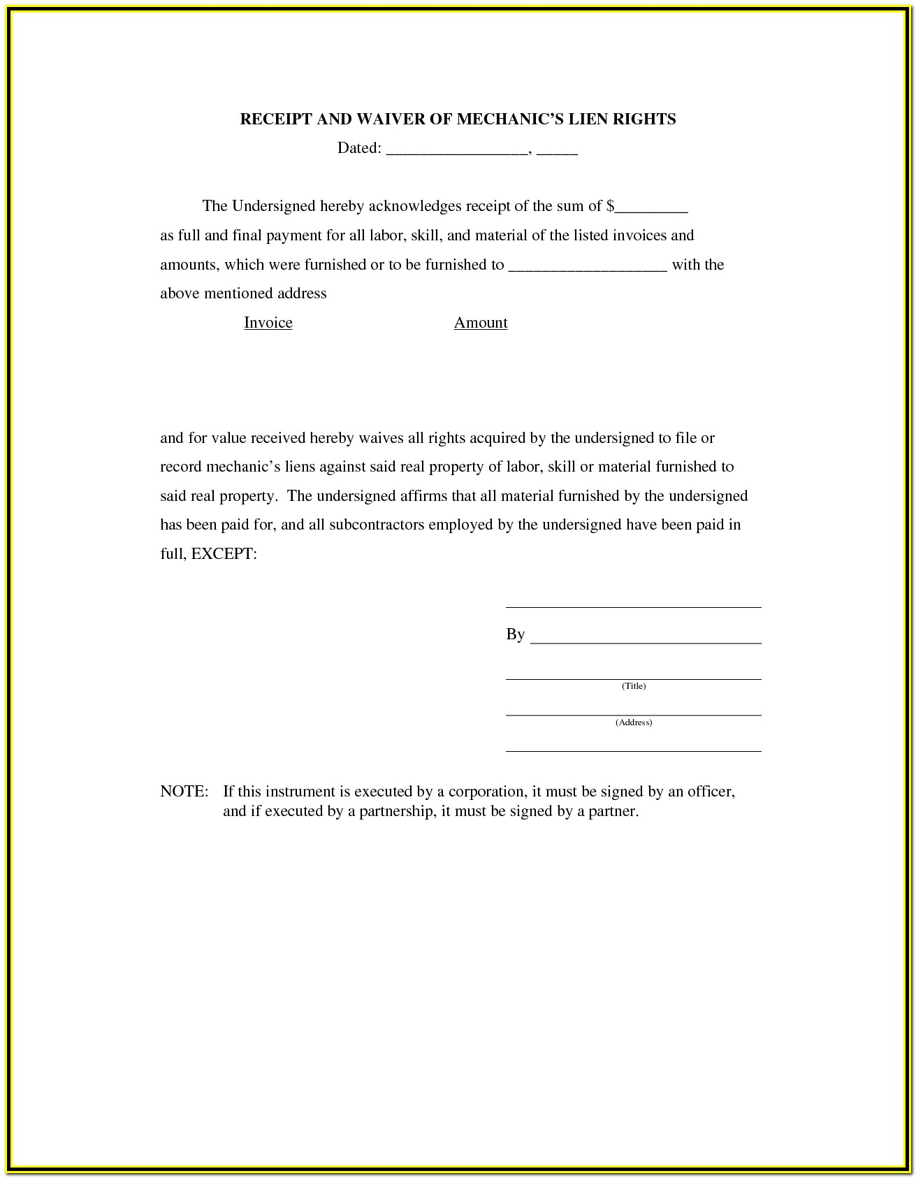 Texas Mechanics Lien Release Form