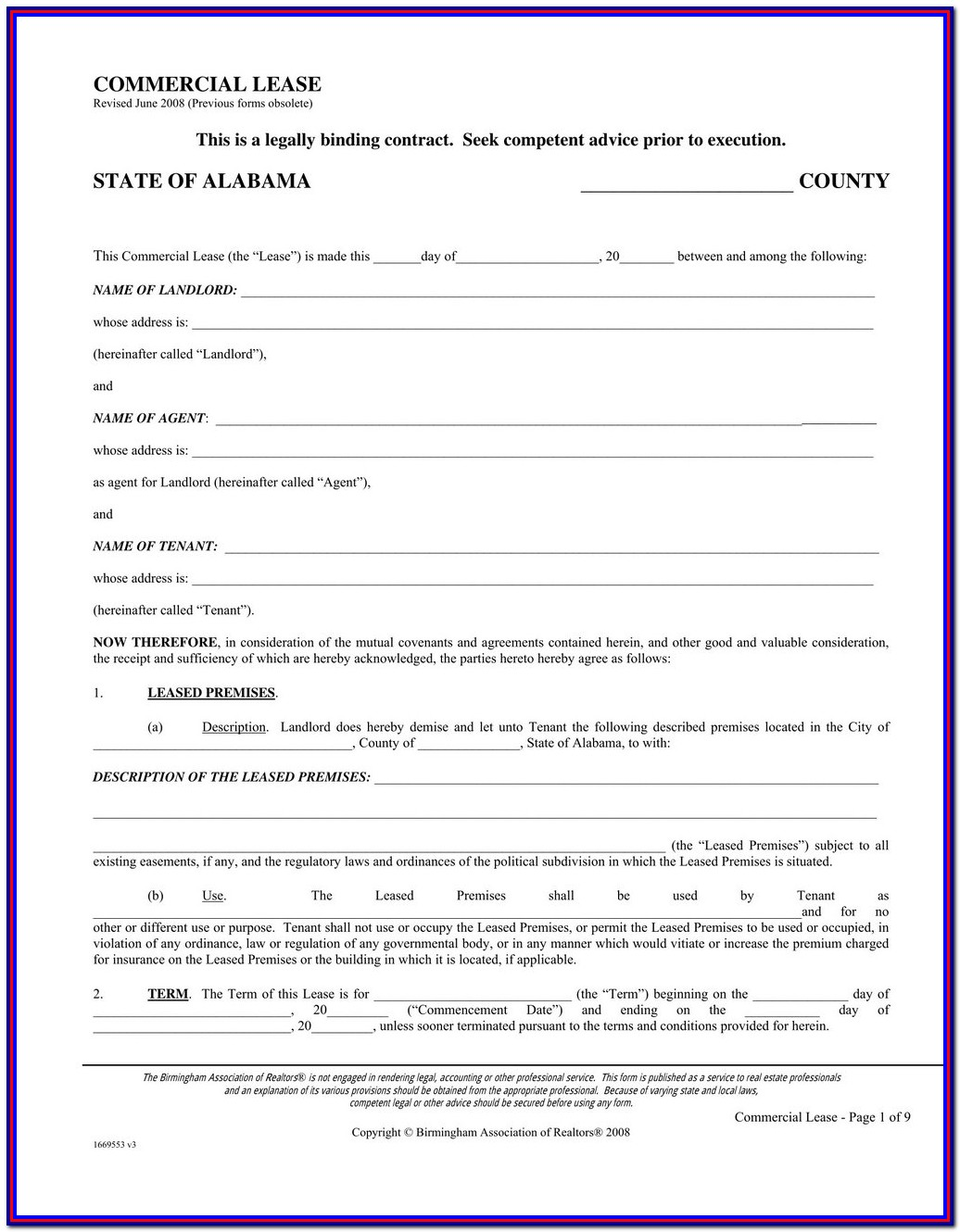 Triple Net Lease Form Pdf