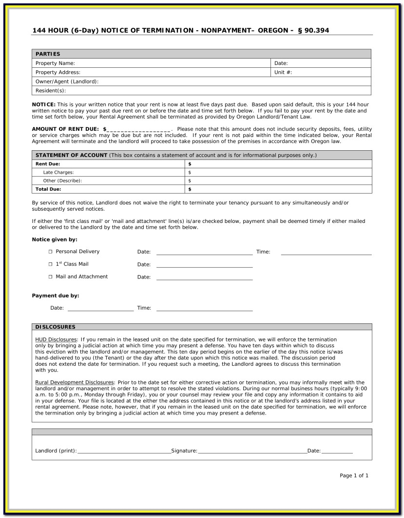 Eviction Notice Forms Oregon