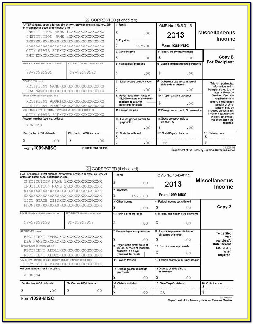 Irs 1099 Misc Fillable Form 2017