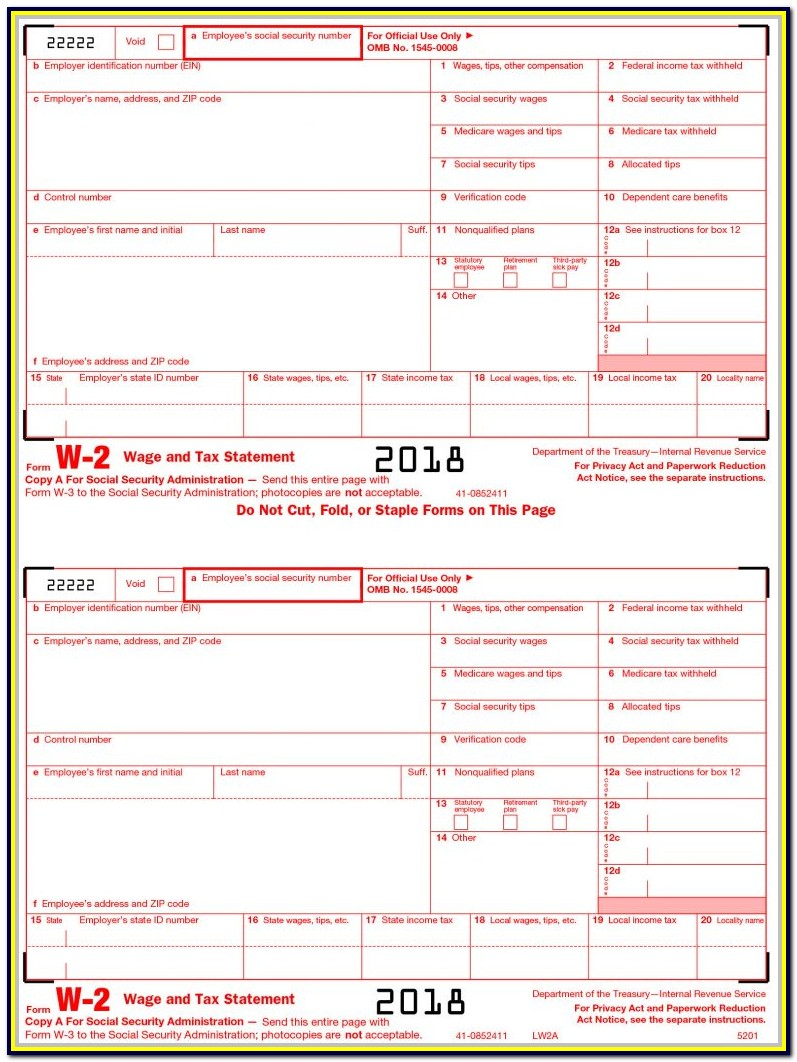 Irs Forms 2018 W 3