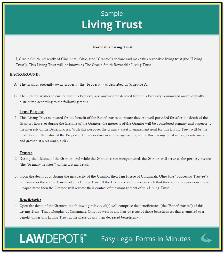 Revocable Living Trust Form Michigan