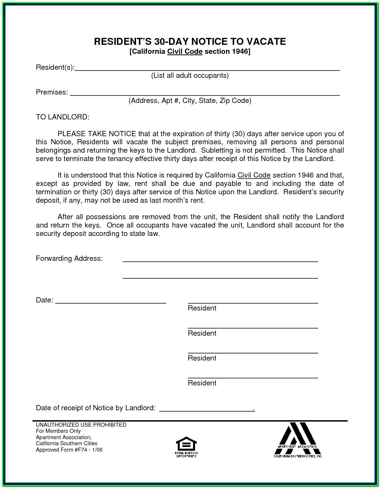 30 Day Eviction Notice Form California