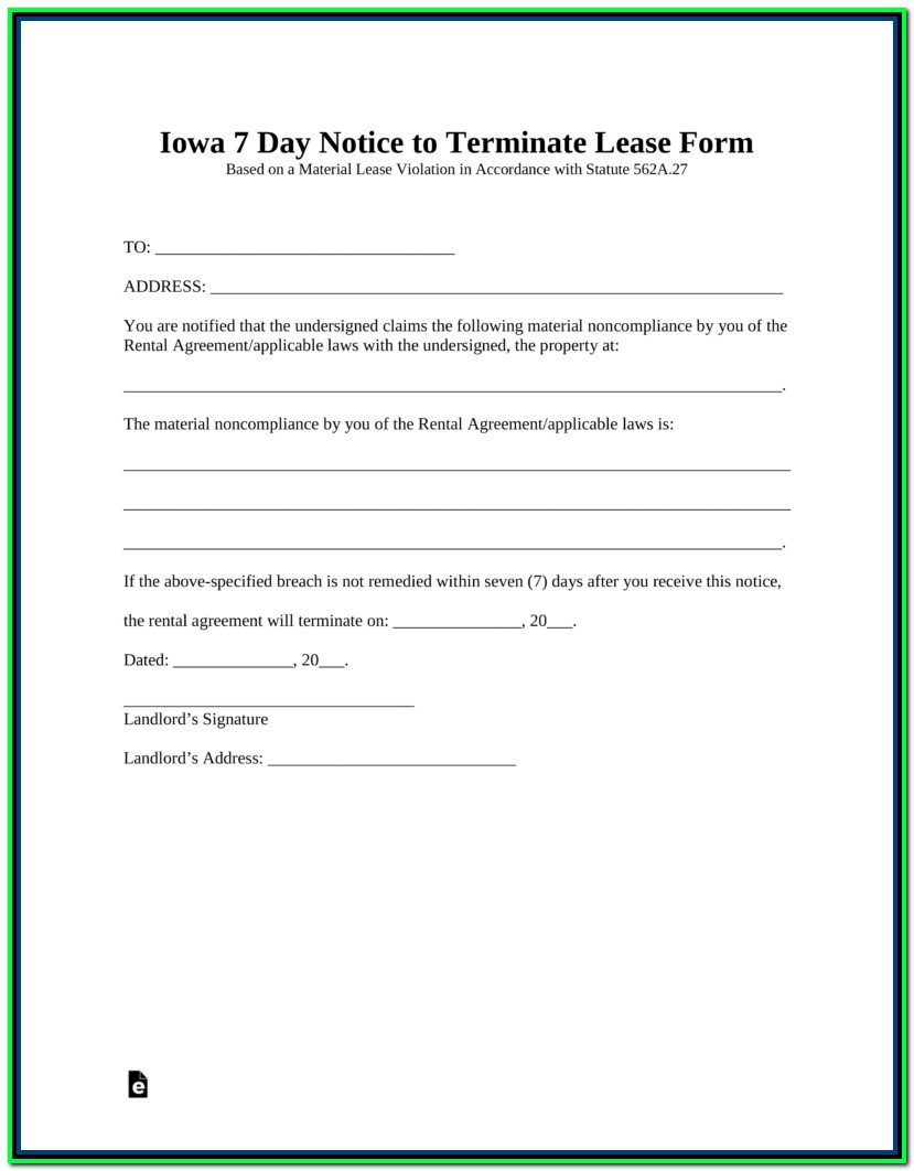 30 Day Eviction Notice Form Iowa