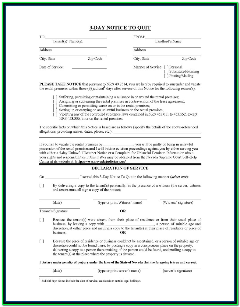 30 Day Eviction Notice Form Nevada