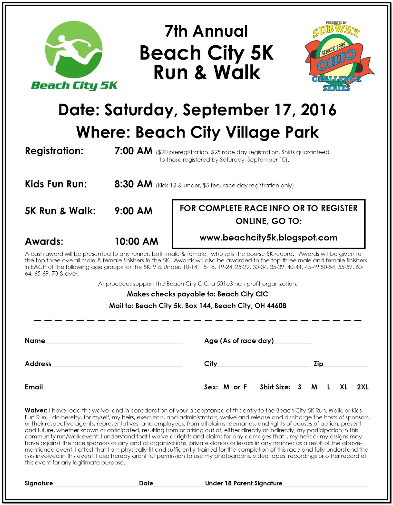 5k Race Registration Form Template