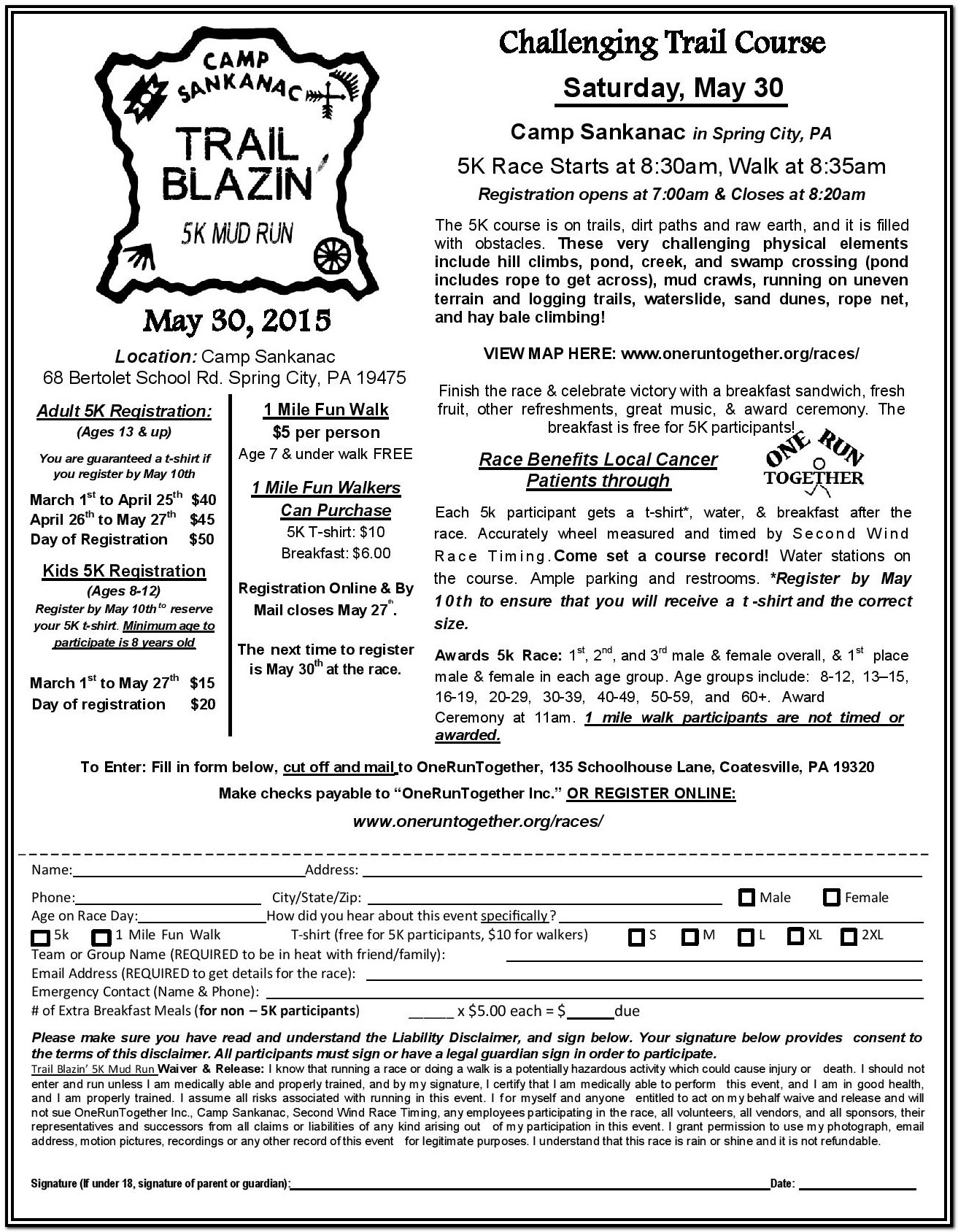 5k Registration Form Waiver