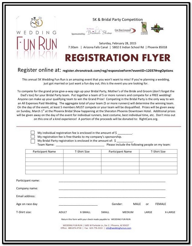5k Registration Form Word