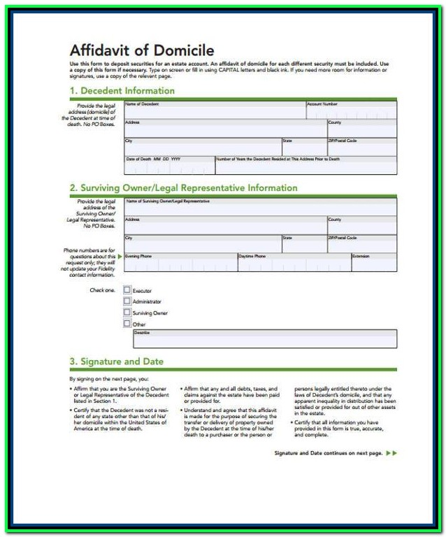 Affidavit Of Domicile Form Free