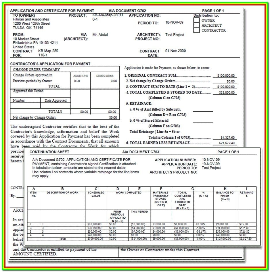 Construction Contract Billing Aia Format Invoice