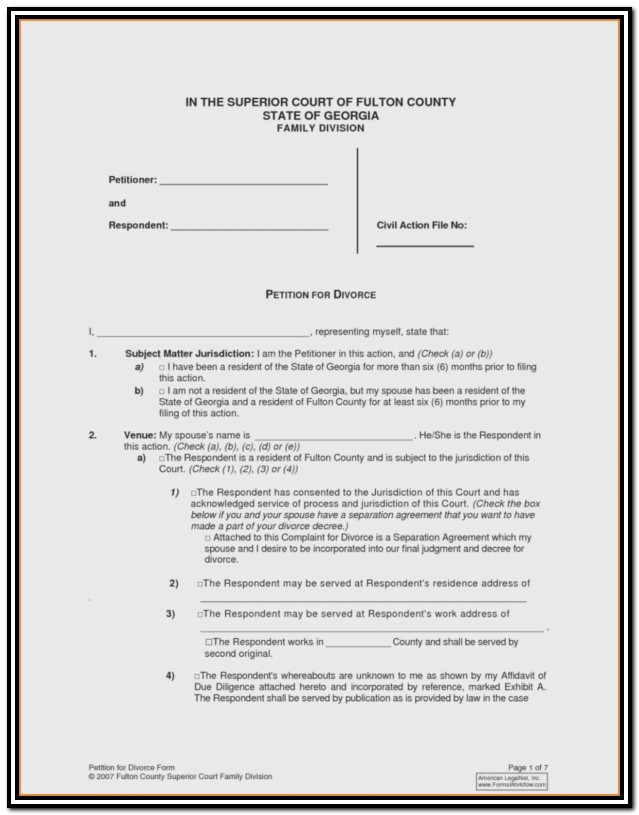 Arkansas Divorce Filing Papers