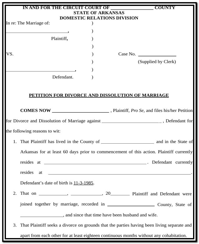 Arkansas Gov Divorce Forms