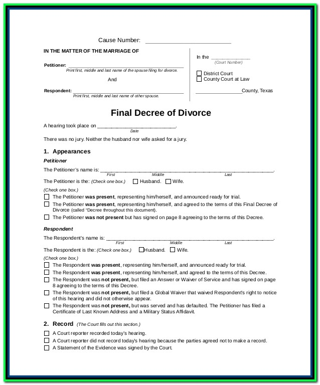 Divorce Decree Texas Forms