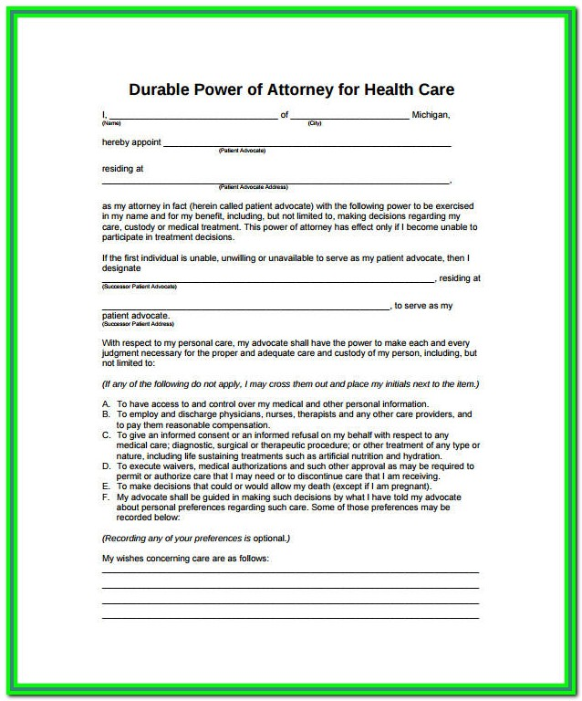 Durable Medical Power Of Attorney California Form