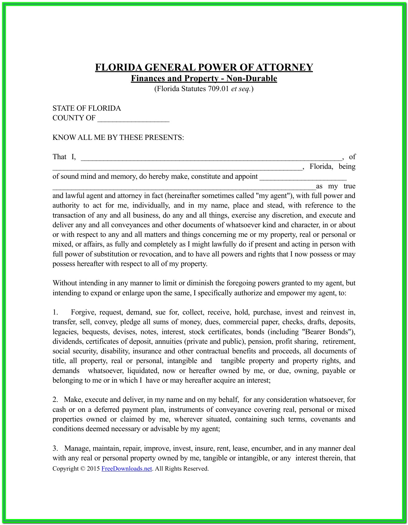 Durable Power Of Attorney Form Florida Free Download