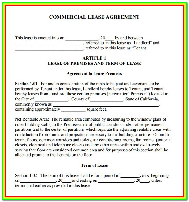 Free Commercial Lease Forms