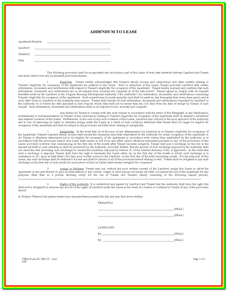 Free Lease Addendum Forms