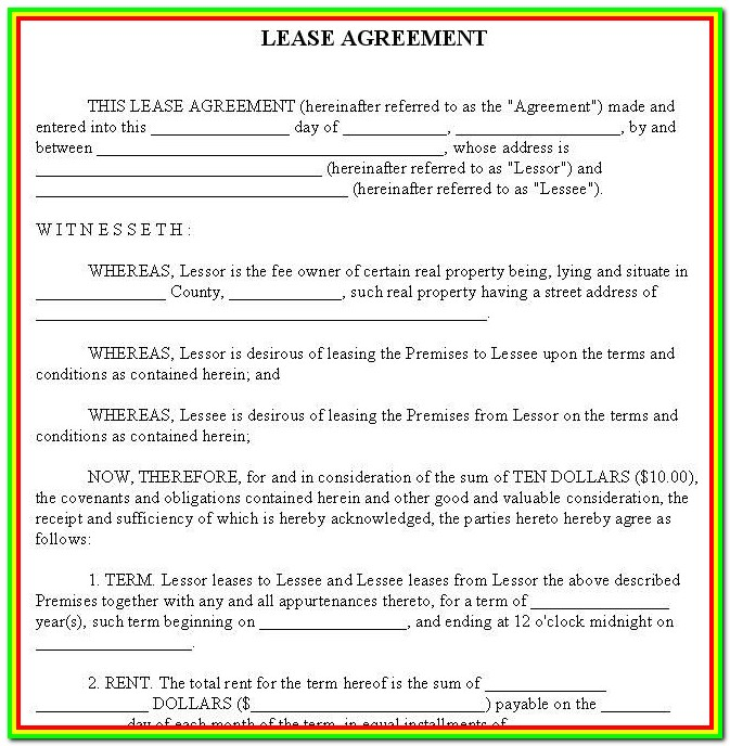 Free Lease Forms For Rental Property