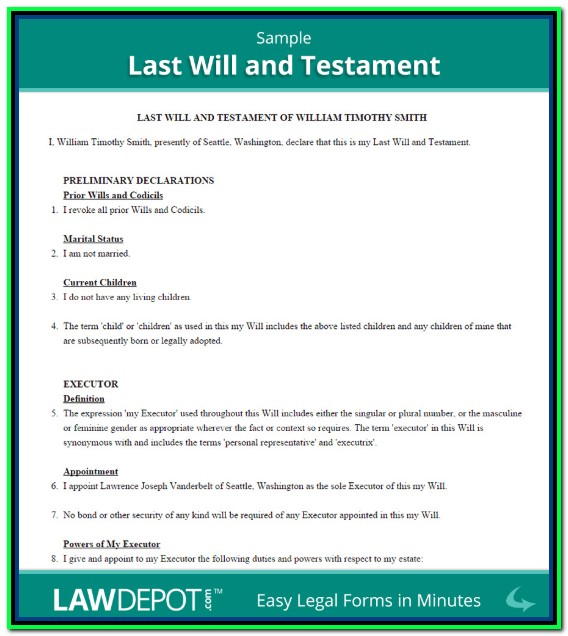 Free Printable Last Will And Testament Forms Ontario Canada