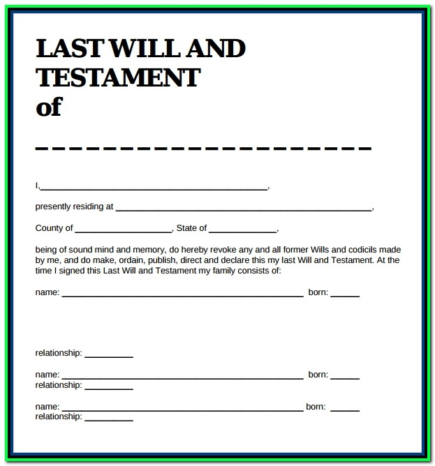 Free Printable Last Will And Testament Forms Pdf
