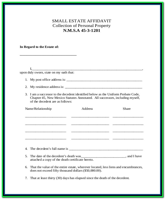Free Small Estate Affidavit Form Idaho