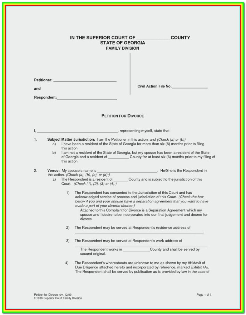 Free Uncontested Divorce Forms Ny