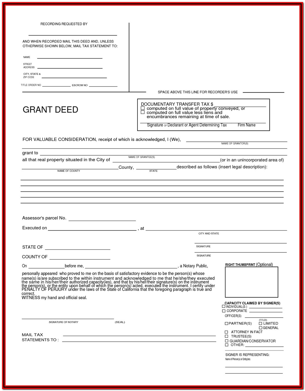 Grant Deed Form California Alameda County