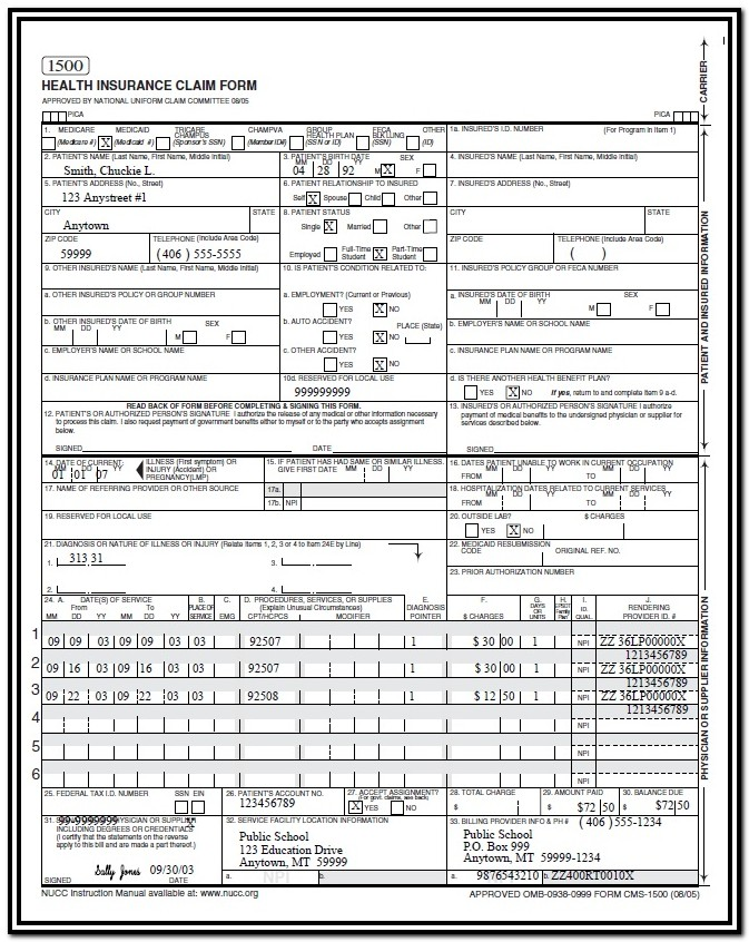 Hcfa Claim Form Sample