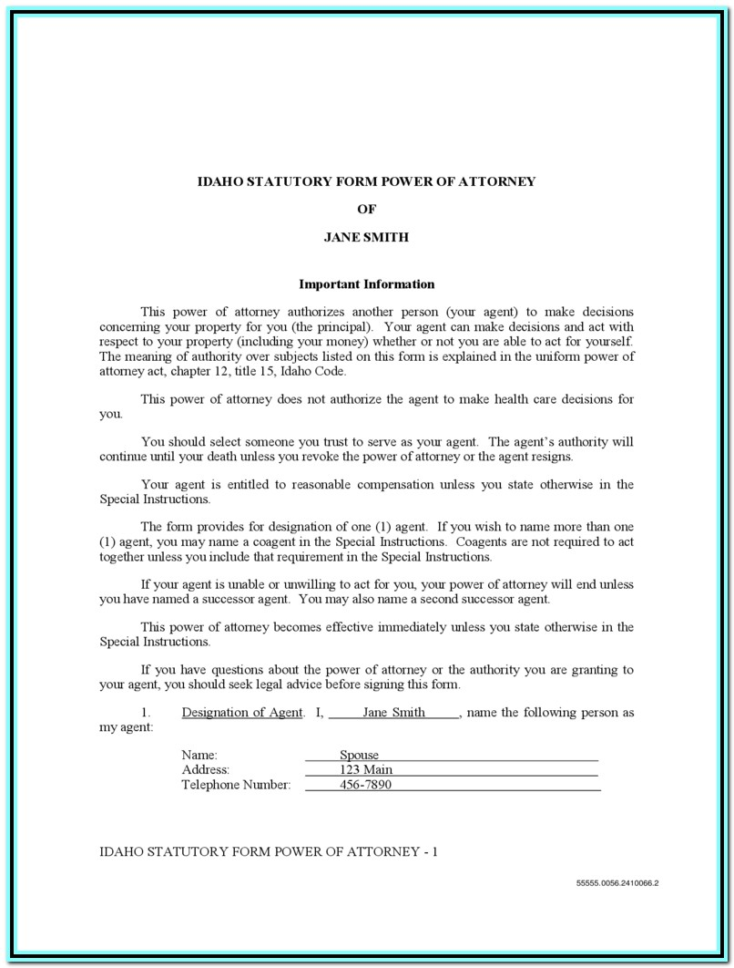 Idaho Statutory Power Of Attorney Form