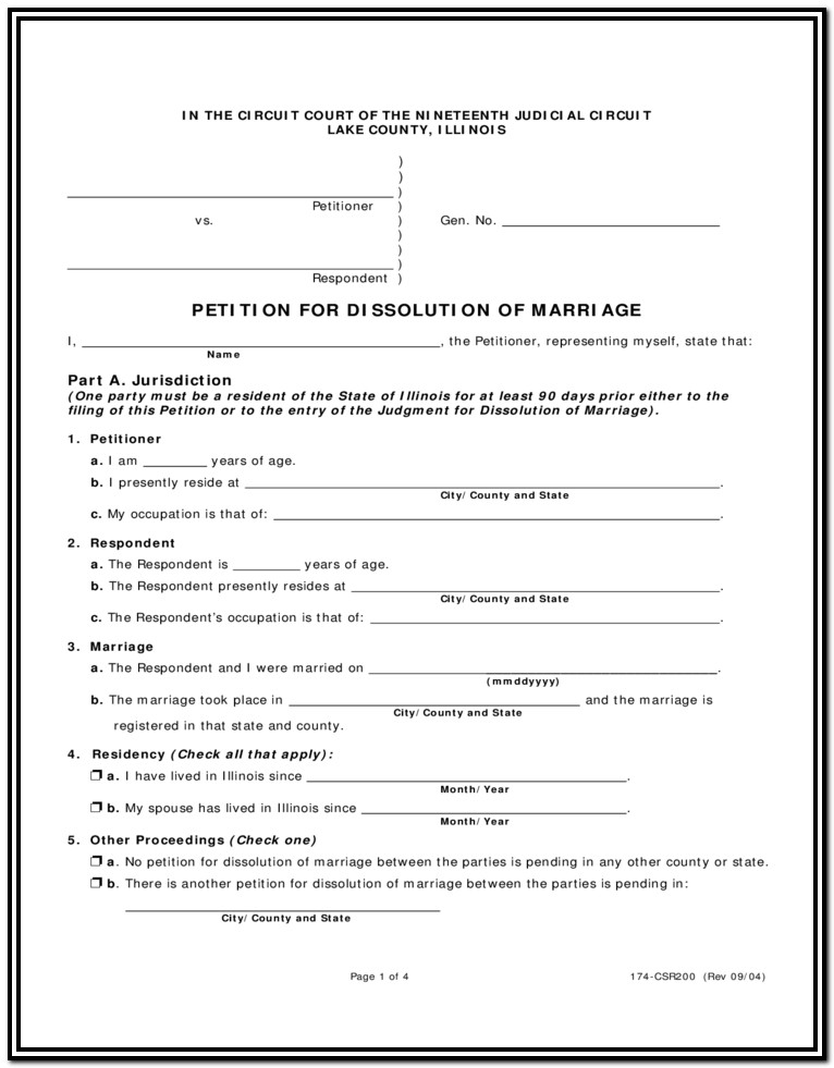 Illinois Divorce Forms Mchenry County