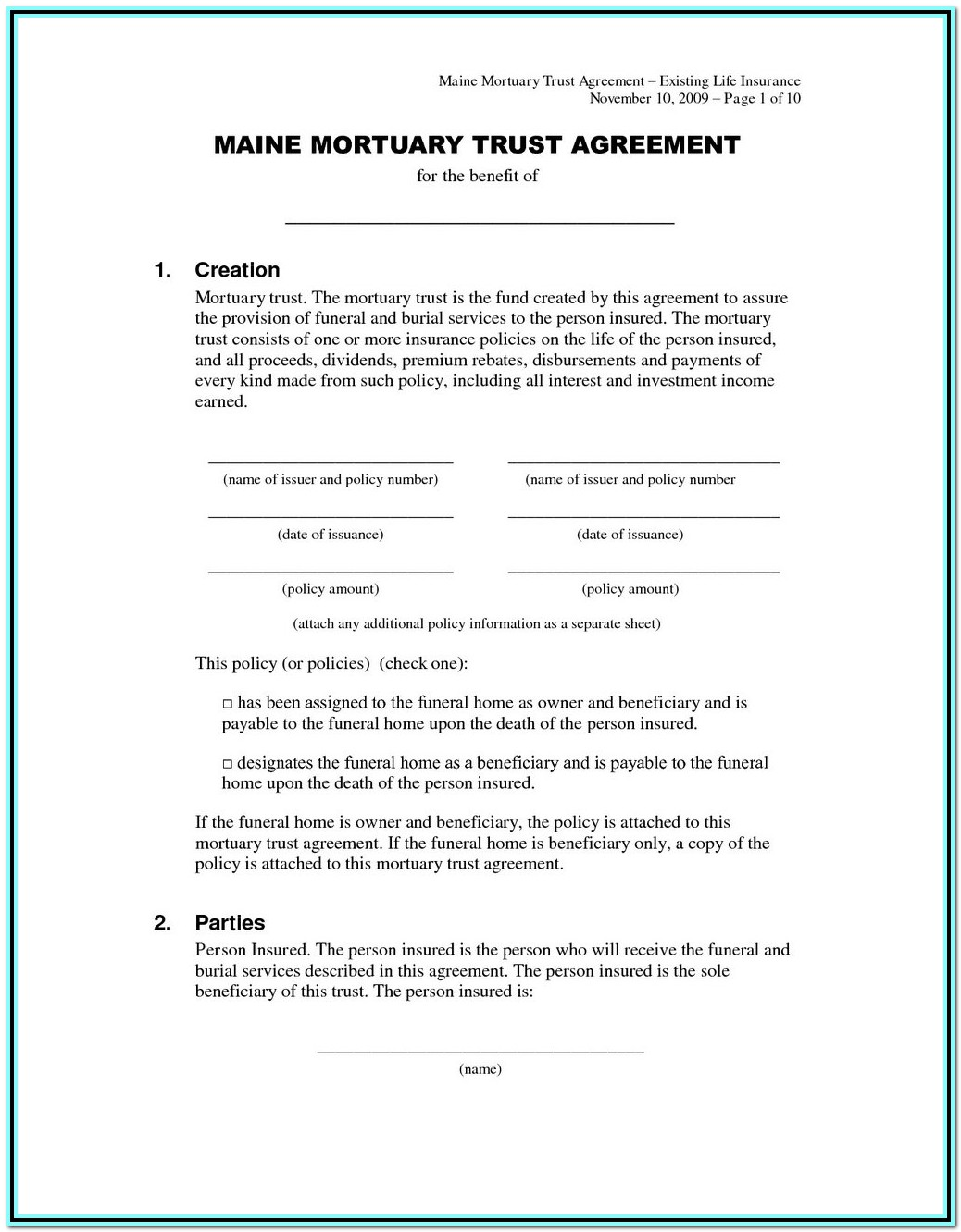 Irrevocable Trust Form Michigan
