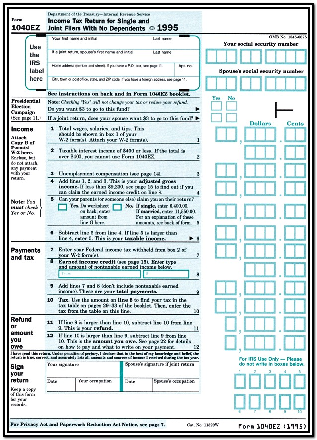 Irs Tax Form 1040ez Instructions
