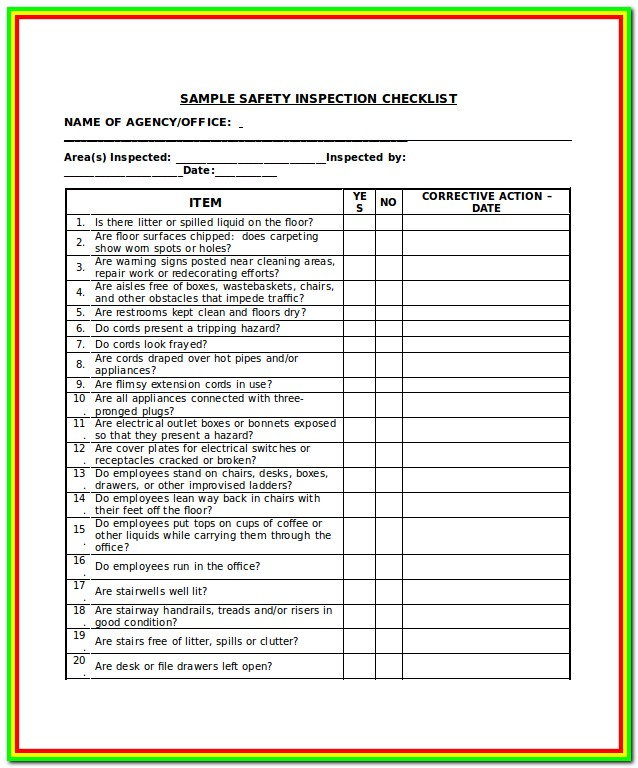 Ladder Inspection Form Osha