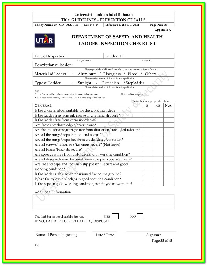 Ladder Inspection Forms