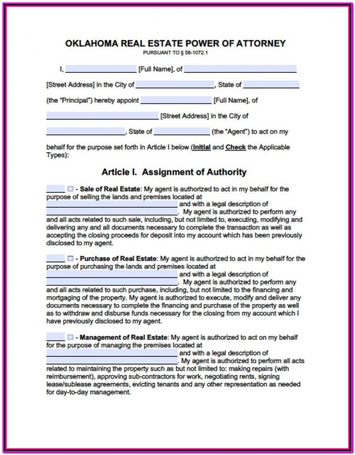 Limited Power Of Attorney Form Oklahoma