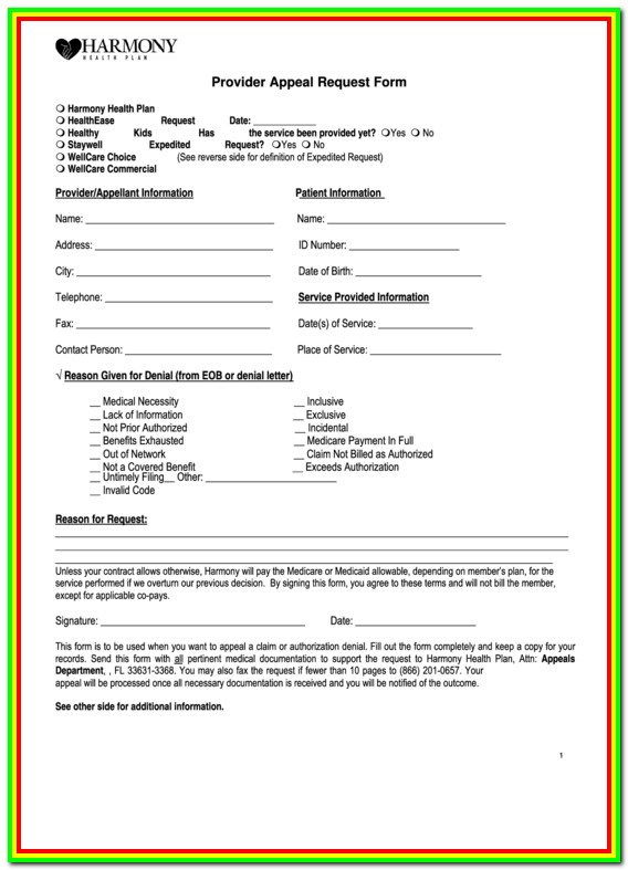 Medicare Part B Appeals Request Form