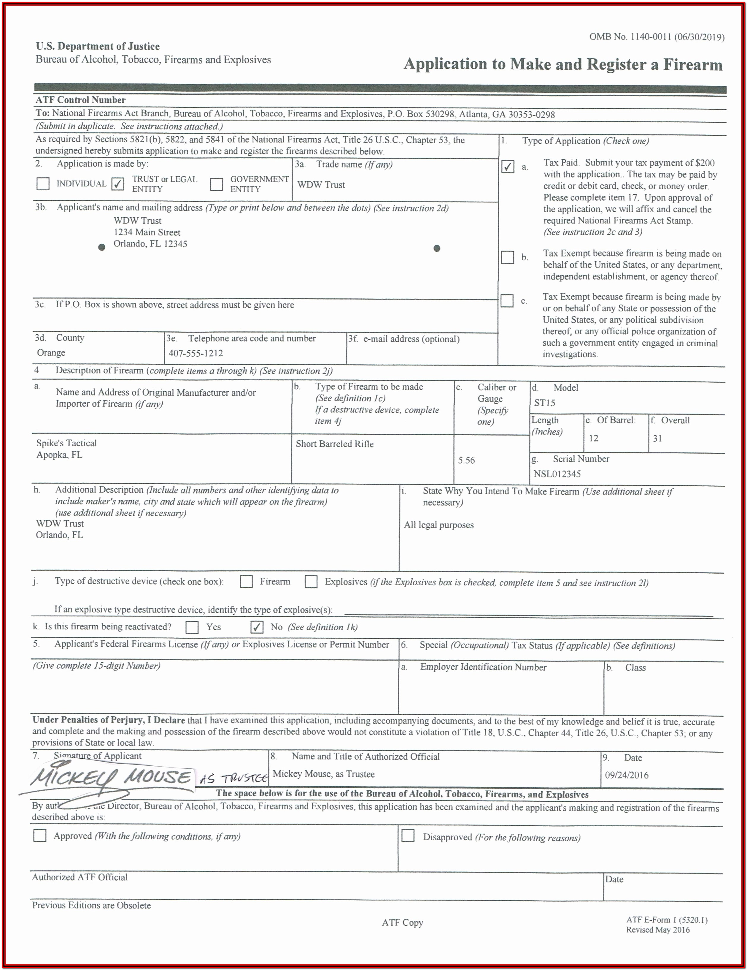 Nfa Firearms Trust Form
