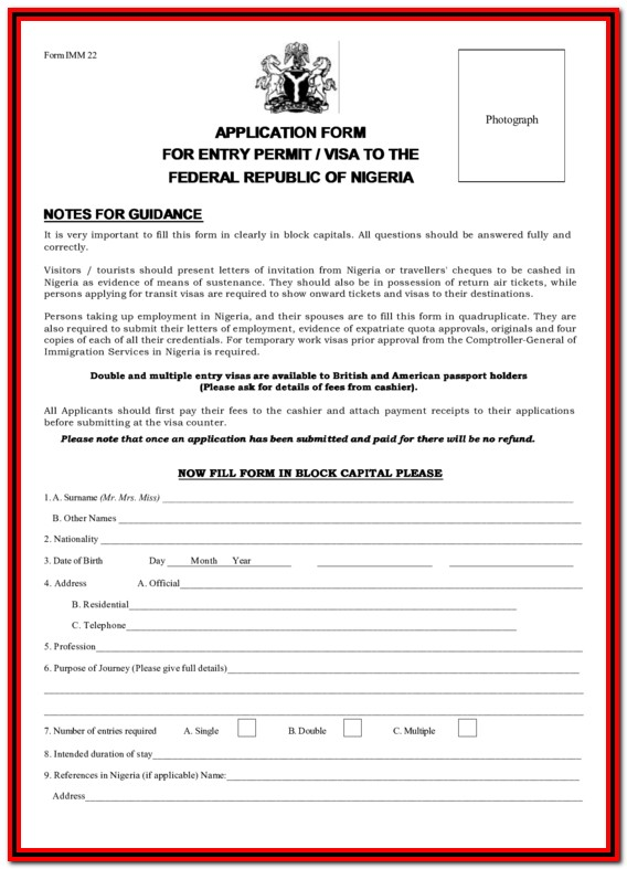Nigerian Visa Application Form Imm 22