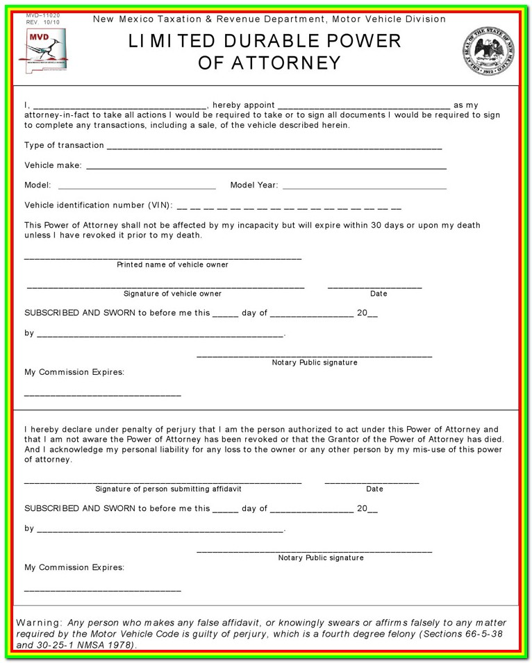 Power Of Attorney Form New Mexico Dmv