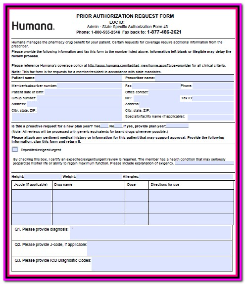 Prior Authorization Form For Medicare Humana