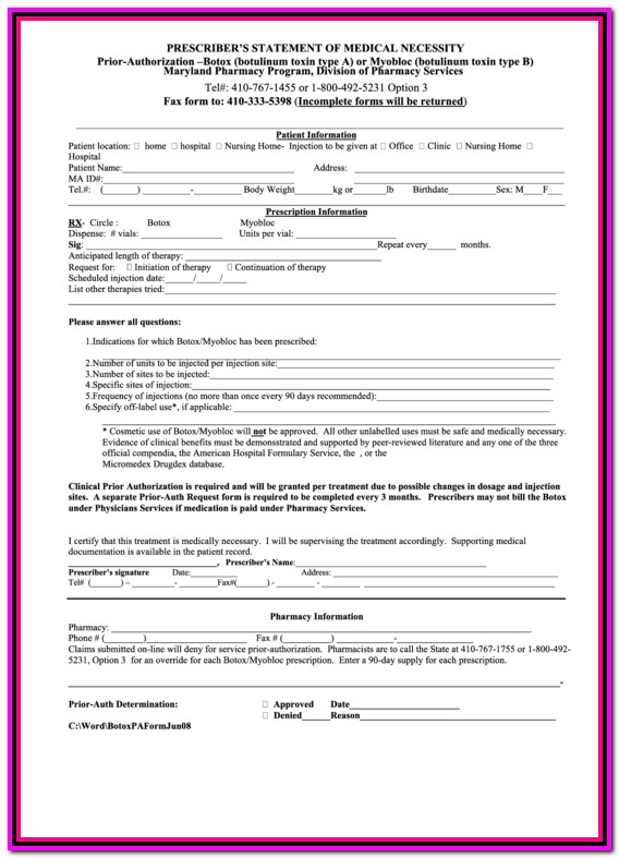 Prior Authorization Form For Medicare Part B
