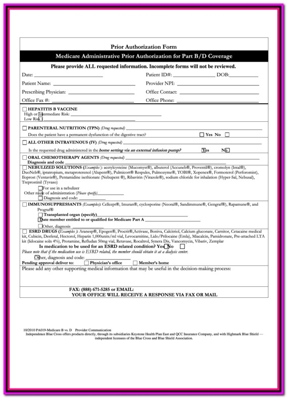 Prior Authorization Form For Medicare Plus Blue
